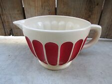 2008 Harry and David Large 48 oz. Handled Pitcher Mixing Bowl Red & Off White
