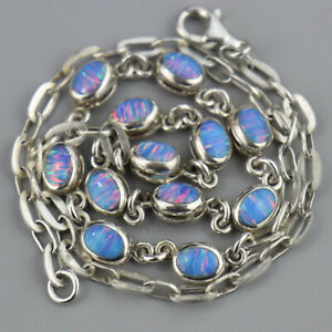 Vintage Mexico Opal Doublet Sterling SIlver Chain Link Necklace