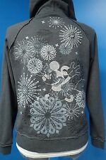 06915 Disney Embroidered Silver Mickey Mouse Gray Hoodie Zip Jacket Women M