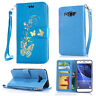 Gold Butterfly printing Wallet Leather Flip Case Cover For Sony Mobile Phone