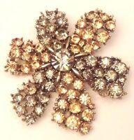 broche vintage fleur couleur or toute de cristaux facette diamant brille 3555