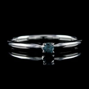 Real Diamond Engagement Solitaire Ring 14K White Gold Over Sterling Silver 925