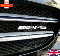 New Chrome AMG Logo Front Hood Grille Grill Decal Badge For Mercedes Benz Emblem