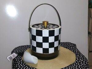 "MacKenzie-Childs Inspired COURTLY CHECK Ice Bucket w/Handle scoop 8"" barware"