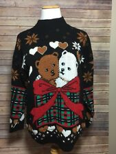 Womens Ugly Christmas Sweater Medium Holiday Sweater Teddy Bears Black and Gold
