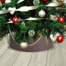 Large Brown Plastic Rattan Design Christmas Tree Skirt Stand Cover 65cm x 20cm