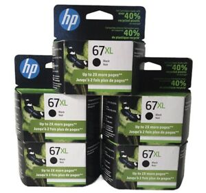 Lot of 5 NEW HP 67XL High Yield Original Ink Cartridge, Black (3YM57AN) Exp 2023