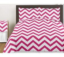 Sweet Jojo Design Chevron Pink White Twin Girl Teen Modern Comforter Bedding Set