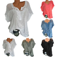 Women's Boho V Neck Lace T Shirt Tops Embroidered Floral Summer Beach Blouse Tee