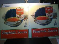 2 CAMPBELL'S - Tomato Soup - CAN and BOWL Field of Tomatoes- LUNCH DINNER SUPPER