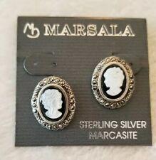 MARSALA STERLING SILVER MARCASITE EAR RING SET