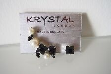 KRYSTAL LONDON  Silver Jet Jewel & Pearl Ear Cuff & Stud Earrings Set  BRAND NEW