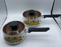 Enamel Cookware Set 2 Pots Pans Lids Floral Orange Flowers Retro Kitchen 1qt 2qt