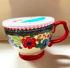 The Pioneer Woman Dazzling Dahlias 27oz. Coffee  Cup / Soup Mug  With Vented Lid