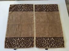 Ralph Lauren Leopard Animal Print Bath Hand Towels Made in USA - Set of 2