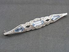 schöne alte Brosche Silber Blautopas oder Aquamarin ca.um 1910 Art Deko