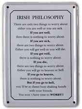 IRISH PHILOSOPHY Small Vintage Metal Tin Pub Sign