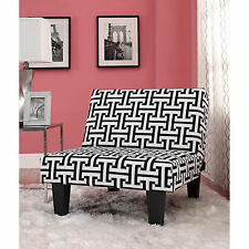 Kebo Chair, Black and White Geometric Pattern with Dark Leg
