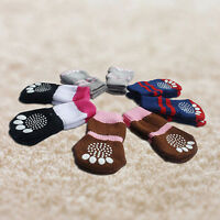 4pcs Pet Small Dog NEW Warm Soft Anti-slip Cotton Knit Socks Skid Bottom