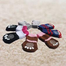 4pcs Pet Small Dog NEW Warm Soft Anti-slip Cotton Knit Socks Skid Bottom