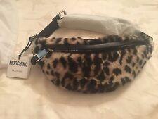 SS16 Moschino Couture Jeremy Scott Black Leopard Spots Print Faux Fur Fanny Pack