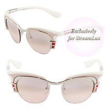 PRADA DIXIE Sunglasses SPR 60O 1BC-1J1 Women Cat Eye White Pink Mirrored