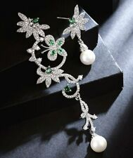 White Gold Plated Pearl Emerald Paste Drop Asymmetric Butterfly CRYSTAL EARRINGS
