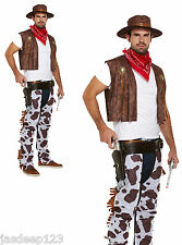 Cowboy Fancy Dress Costume Adulto Para Hombre cowprint Outfit Western Sombrero Bandana Chaps