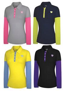 Adidas Women's Fashion Performance Faux Layered Long Sleeve Golf Polo