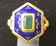 18k Gold and Enamel Victorian Funeral Ring with Rams head Motif