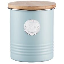 Typhoon Living Blue Stainless Steel Coffee Canister Bamboo Lid Kitchen Container
