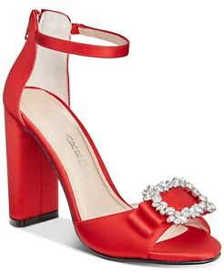 BRAND NEW CAPARROS Size 8.5 Red Satin Sparkling Rhinestone Brooch Sandal Shoes