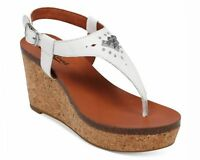 LUCKY BRAND Women's White Leather Narnie Platform Wedge Sandals Shoes