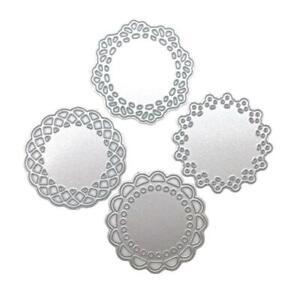4Pcs Lace Doily Circle Metal Cutting Dies Stencil Scrapbooking Card Paper Craft