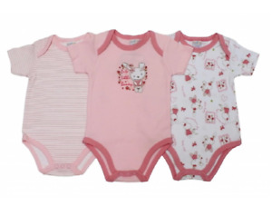 Newborn Baby Girls' Bodysuit Pack of 3 Short Sleeve 100% Cotton Size 0-12 Months