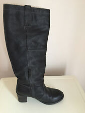 WOMEN LADIES NEW LOOK BLACK KNEE HIGH LEATHER BOOTS WITH FLEECE LINING SIZE 6