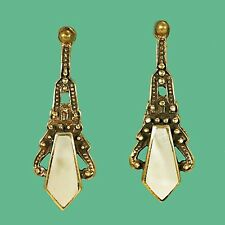 1920s Art Deco Inspired Mother of Pearl Earrings - for Vintage Loving Bride ?