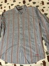 Daniel Cremieux Mens Size Large Long Sleeve Button Up Casual Blue Striped Shirt