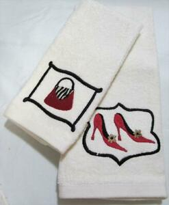 Designer Bathroom Hand & Tip Towel Set FASHION PASSION with Red Stiletto Heels