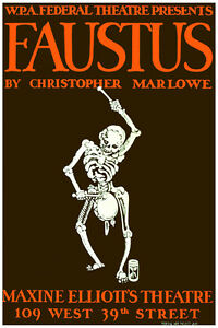 2693.WPA Federal theater Faustus quality POSTER.Home Decorative Art.Skeleton