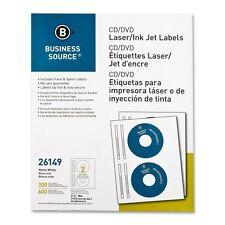 CD/DVD Labels, Laser/inkjet, 300/PK, White BSN26149