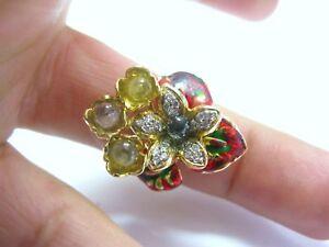 Fine 18KT Multi Gem Sapphire Diamond ellow Gold Jewelry Ring