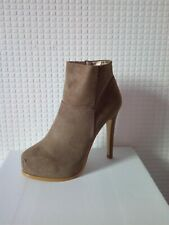 womens ladies taupe faux suede high heel platform side zip ankle boots uk size 7