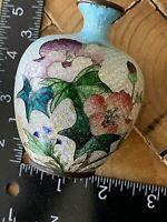 "Antique/Vintage Japanese Cloisonne Foil  Vase. Floral 3 x 2.5"" fat, elegant"