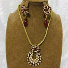 50% OFF Bollywood Indian Jewellery Ethnic  Kundan Pearl Necklace Earrings Set