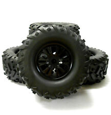 810021 1/8 Scale Off Road RC Monster Truck Wheel and Tyres x 4 Black