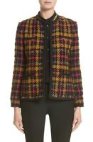 $1995 Etro Milano Women'S Black Yellow Plaid Blazer Knit Textured Jacket Size 2