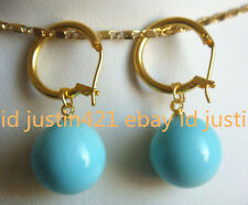 Natural 14mm Turquoise Blue South Sea Shell Pearl Dangle Earrings AAA