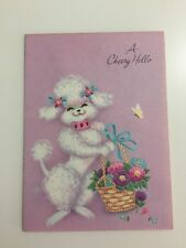 Unused Vtg Greeting Card A Cheery Hello Poodle Basket Flowers Pastels 1960s