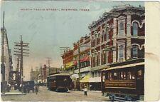 1909 postcard- North Travis St. Sherman, Texas. Trolleys.  Canal Zone Rec'd PM.